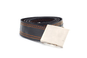 pánský dámský unisex stylový design opasek opasek černé hádě s oranžovým pruhem